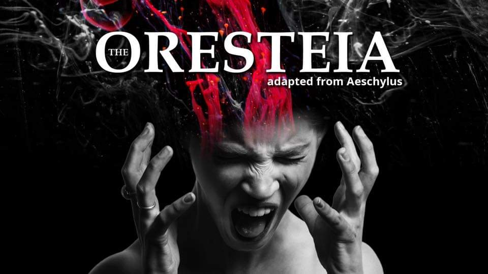 The Oresteia banner - screaming woman