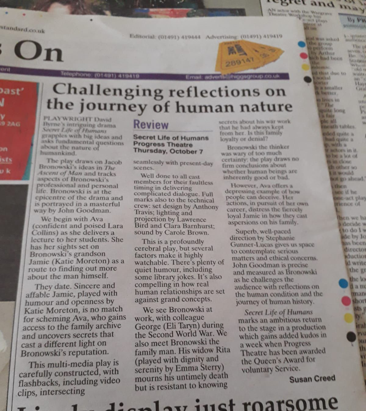 Photo of Henley Standard's review of Secret Life of Humans