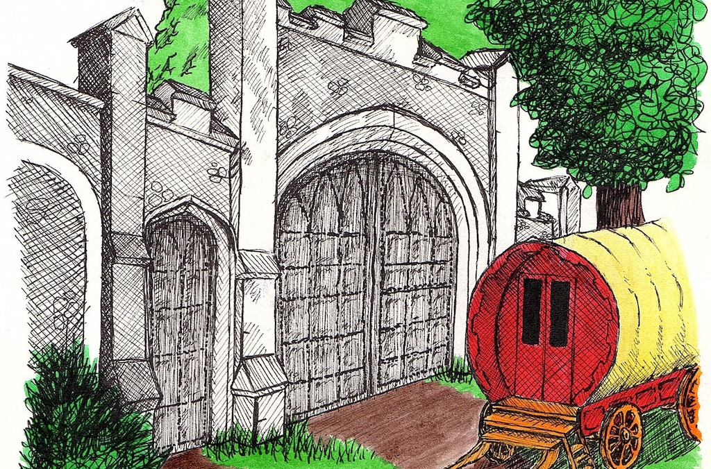 Drawing of a gypsy caravan outside the gates of Caversham Court Gardens