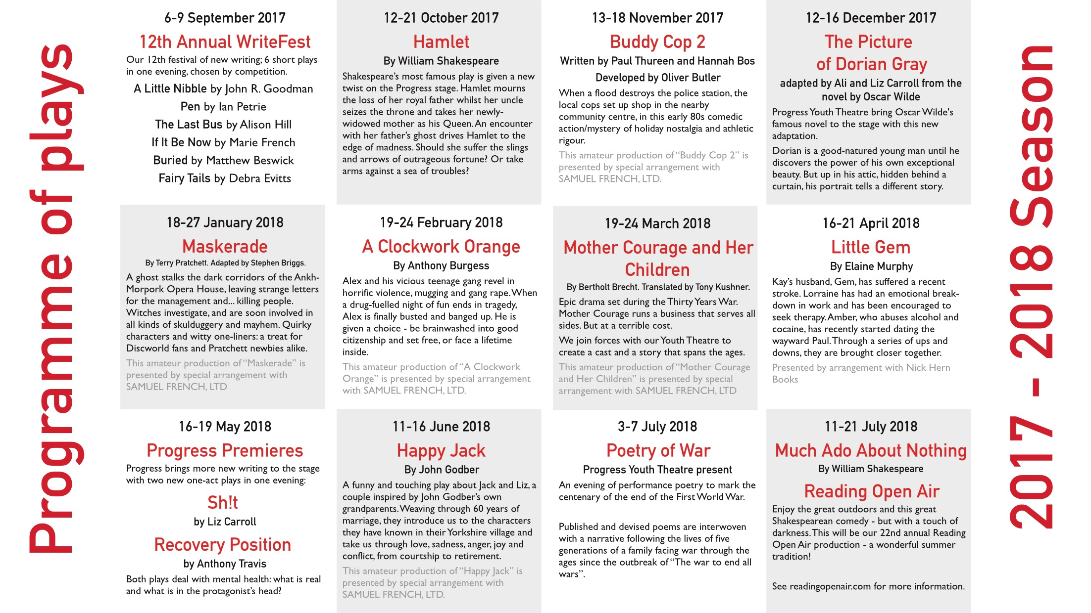 Our 2017-2018 programme of plays
